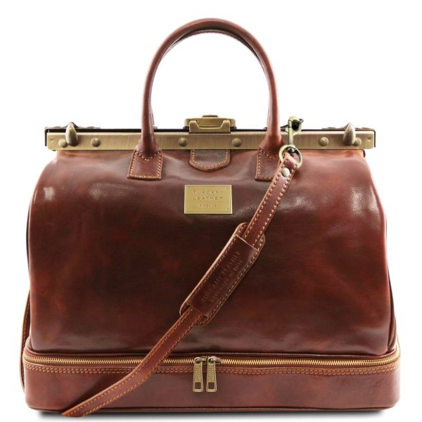 Double-Bottom Gladstone Leather Bag - Barcelona