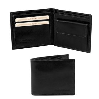 Exclusive 3 Fold Leather Wallet for Men - Baix - Black