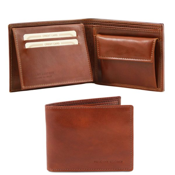 Exclusive Leather 3 Fold Wallet for Men with Coin Pocket - Grillon