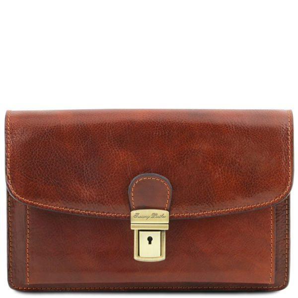 Exclusive Leather Handy Wrist Bag for Men - Arthur