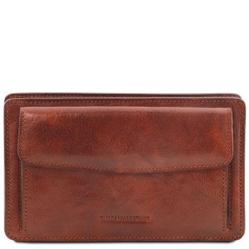 Exclusive Leather Handy Wrist Bag for Men - Denis