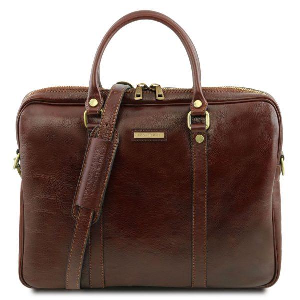 Exclusive Leather Laptop Briefcase - Prato