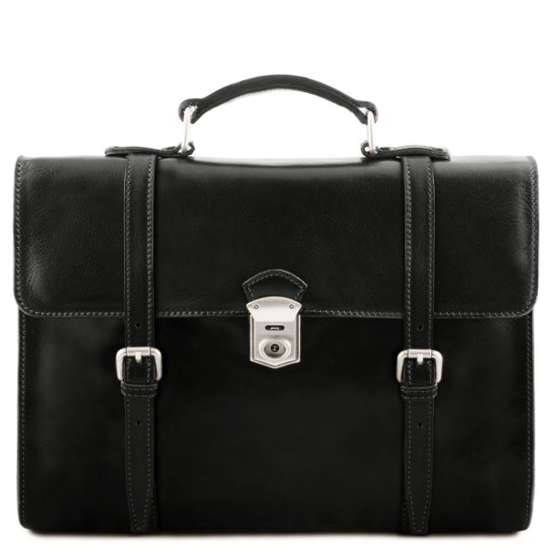 Exclusive Leather Laptop Case with 3 Compartments - Viareggio