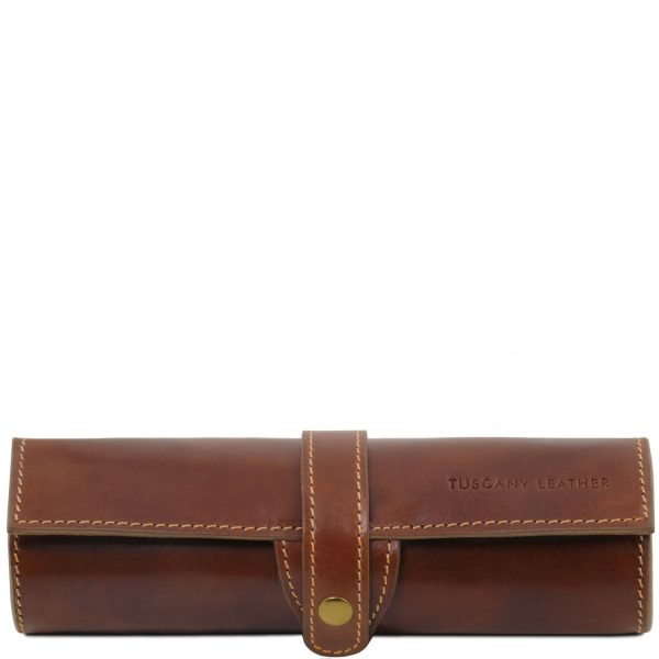 Exclusive Leather Pen Holder - Brown