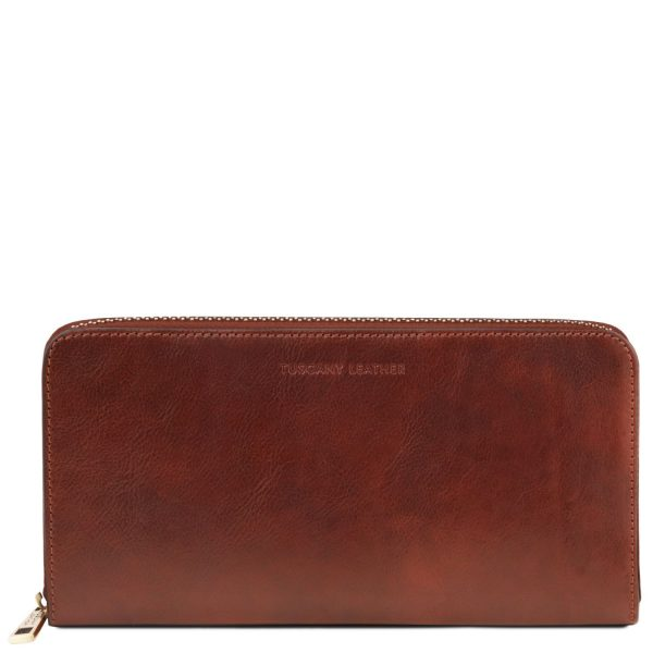 Exclusive Leather Travel Document Case - Dun