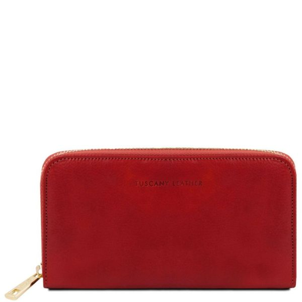 Exclusive leather accordion wallet with zip closure