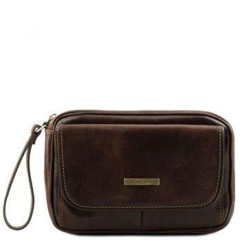 IVAN Leather handy wrist bag for man