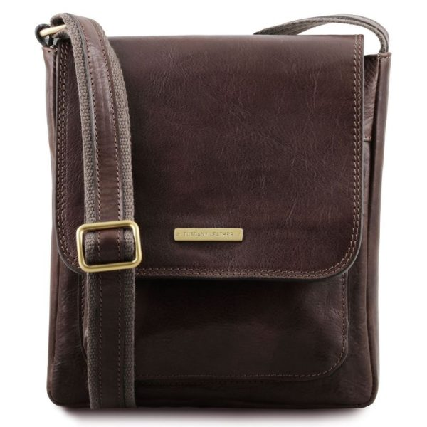 JIMMY Leather crossbody bag for men with front pocket
