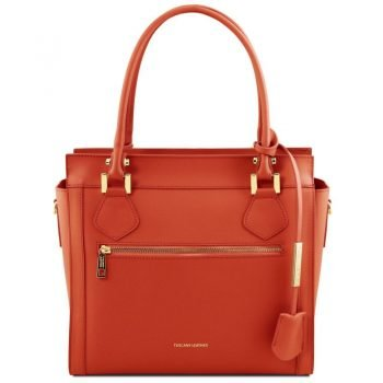 LARA Leather handbag with front zip