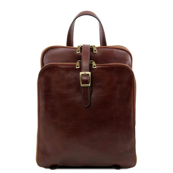Leather Backpack with 3 Compartments - Taipei
