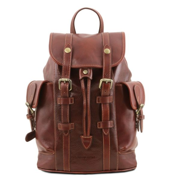 Leather Backpack with Side Pockets - Nara