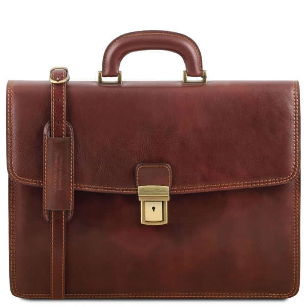 Leather Briefcase With 1 Compartment - Amalfi
