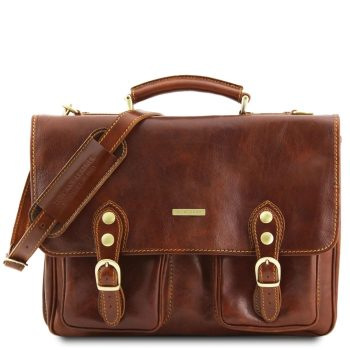 Leather Briefcase With 2 Compartments - Modena