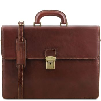 Leather Briefcase With 2 Compartments - Parma