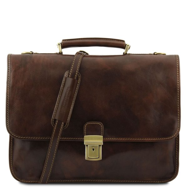 Leather Briefcase With 2 Compartments - Torino