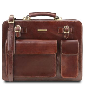 Leather Briefcase With 2 Compartments - Venezia
