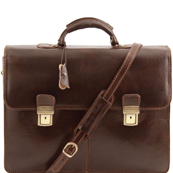 Leather Briefcase with 2 Compartments - Bolgheri