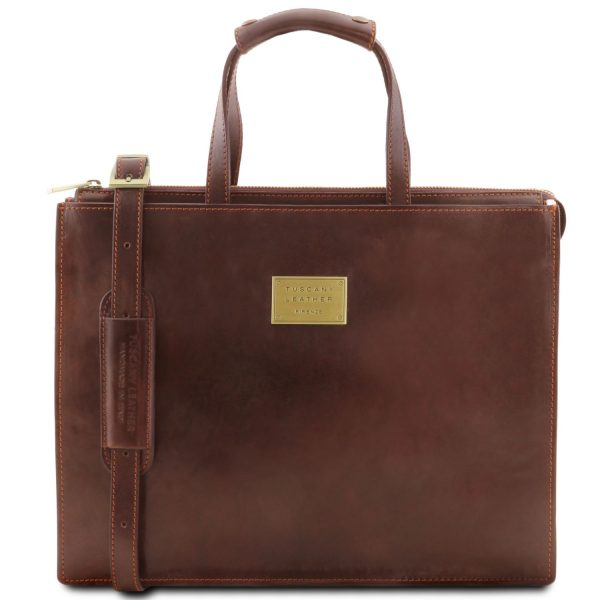 Leather Briefcase with 3 Compartments for Women - Palermo