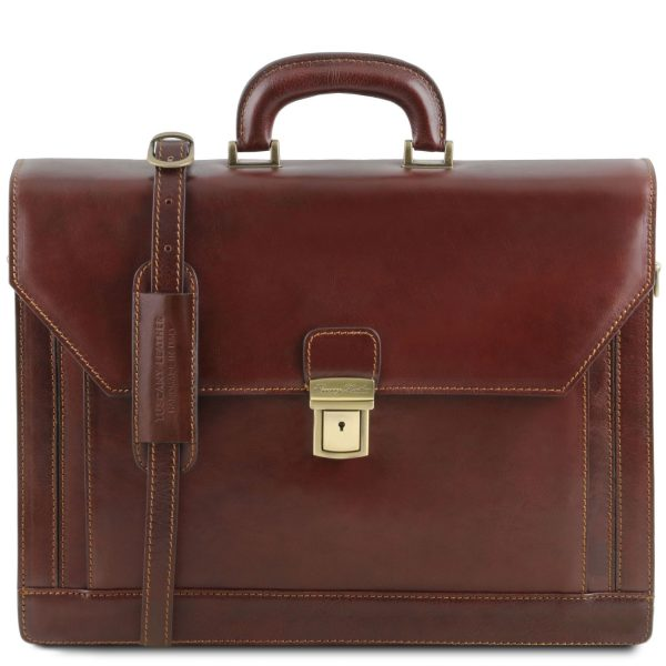 Leather Briefcase with Front Pocket and 2 Compartments - Napoli