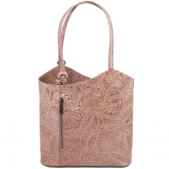Leather Convertible Bag with Floral Pattern - Patty