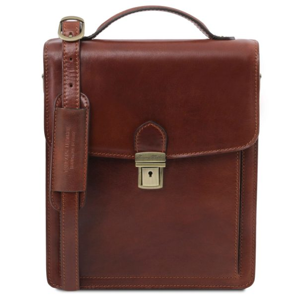 Leather Crossbody Bag - Large Size - David