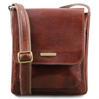 Leather Crossbody Bag for Men with Front Pocket - Jimmy