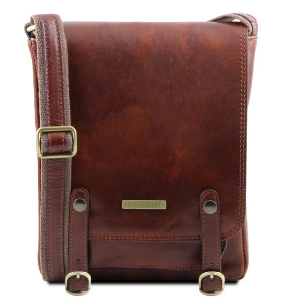 Leather Crossbody Bag for Men with Front Straps - Roby