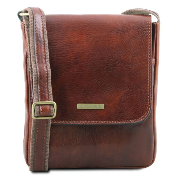 Leather Crossbody Bag for Men with Front Zip - John