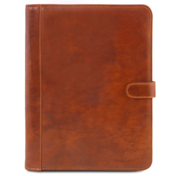 Leather Document Case with Button Closure - Adriano