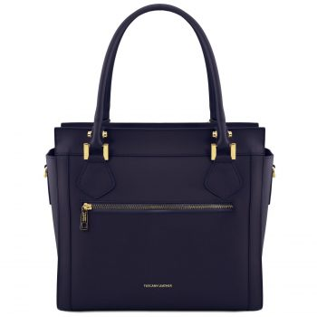 Leather Handbag with Front Zip - Lara