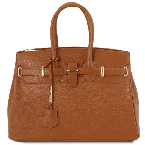 Leather Handbag with Golden Hardware - Courry