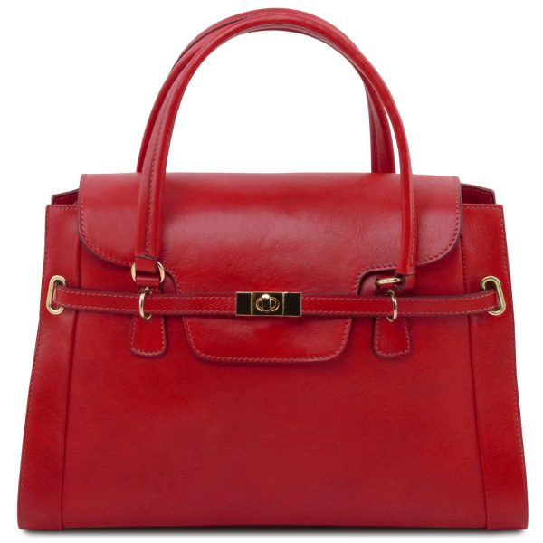Leather Handbag with Twist Lock - Neoclassic Lady