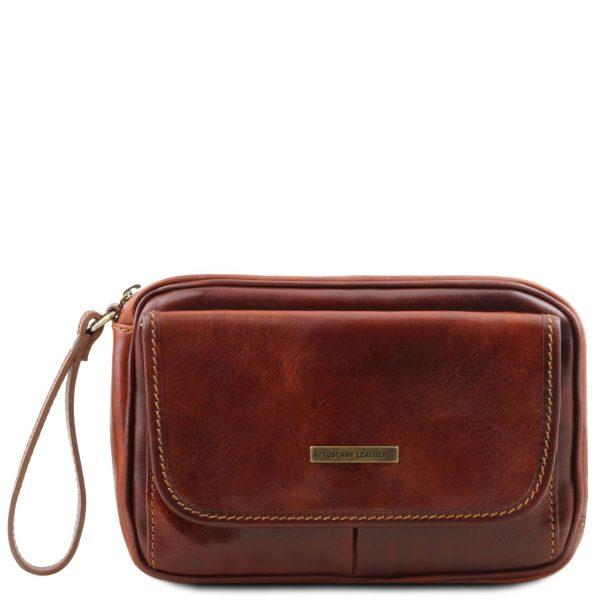 Leather Handy Wrist Bag for Men - Ivan