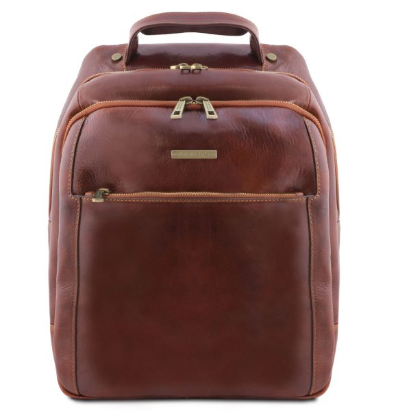 Leather Laptop Backpack with 3 Compartments - Phuket
