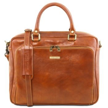 Leather Laptop Briefcase with Front Pocket - Pisa