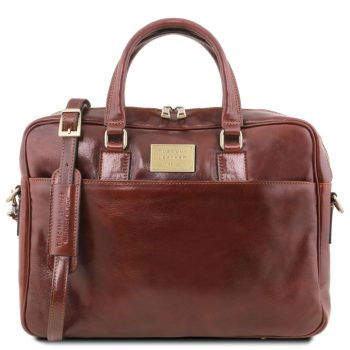 Leather Laptop Briefcase with Front Pocket - Urbino