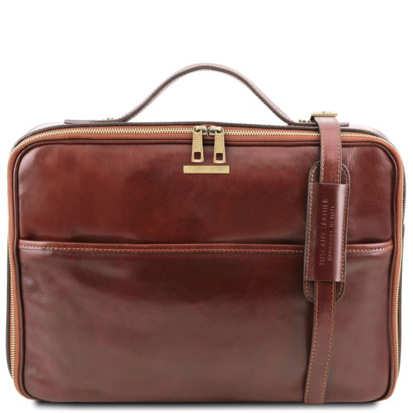 Leather Laptop Briefcase with Zip Closure - Vicenza