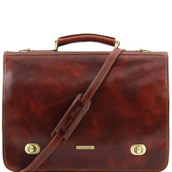 Leather Messenger Bag With 2 Compartments - Siena