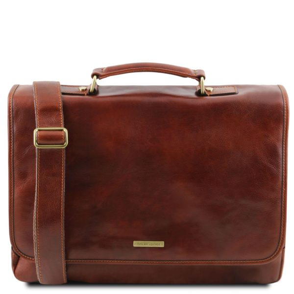 Leather Multi Compartment Smart Briefcase with Flap - Mantova