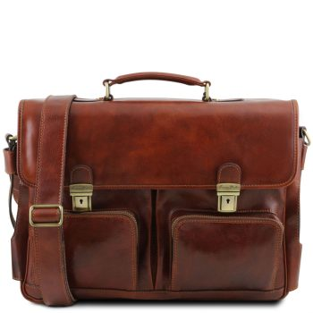 Leather Multi Compartment Smart Briefcase with Front Pockets - Ventimiglia