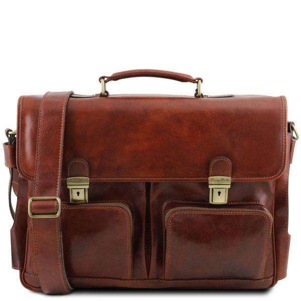 Leather Multi Compartment Smart Briefcase with Front Pockets - Ventimiglia