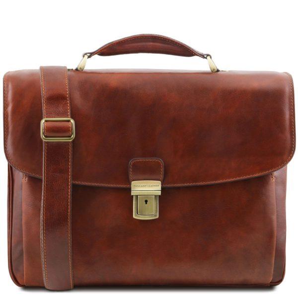 Leather Multi Compartment Smart Laptop Briefcase - Alessandria