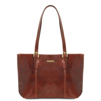 Leather Shopping Bag With Two Handles - Annalisa