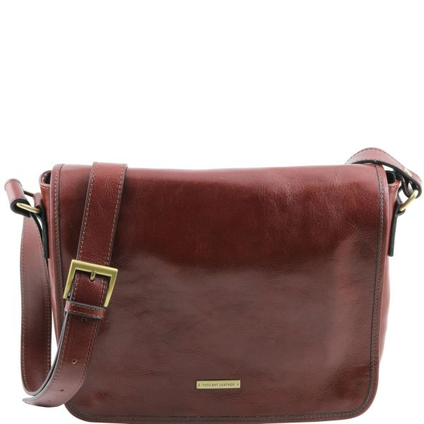 Leather Shoulder Bag With 1 Compartment - Medium Size - Visan