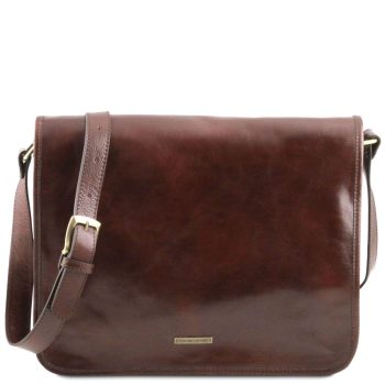 Leather Shoulder Bag With 2 Compartments - Large Size - Mr. Messenger