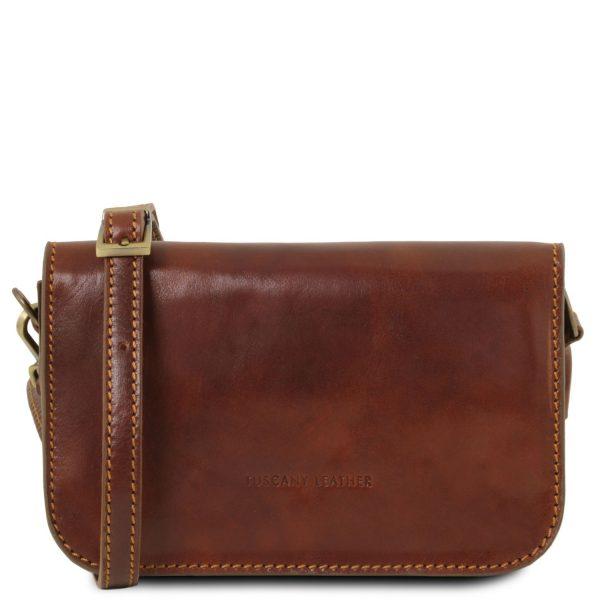 Leather Shoulder Bag with Flap - Carmen