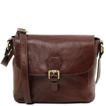Leather Shoulder Bag with Flap - Jody