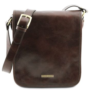 Leather Shoulder Messenger Bag With 2 Compartments - Upie