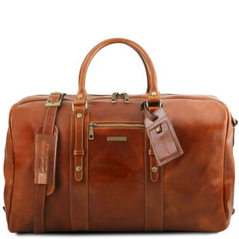 Leather Travel Bag with Front Pocket - Peyrins