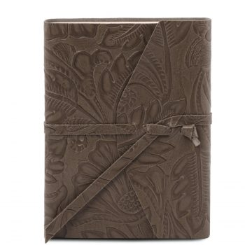 Leather Travel Diary with Floral Pattern